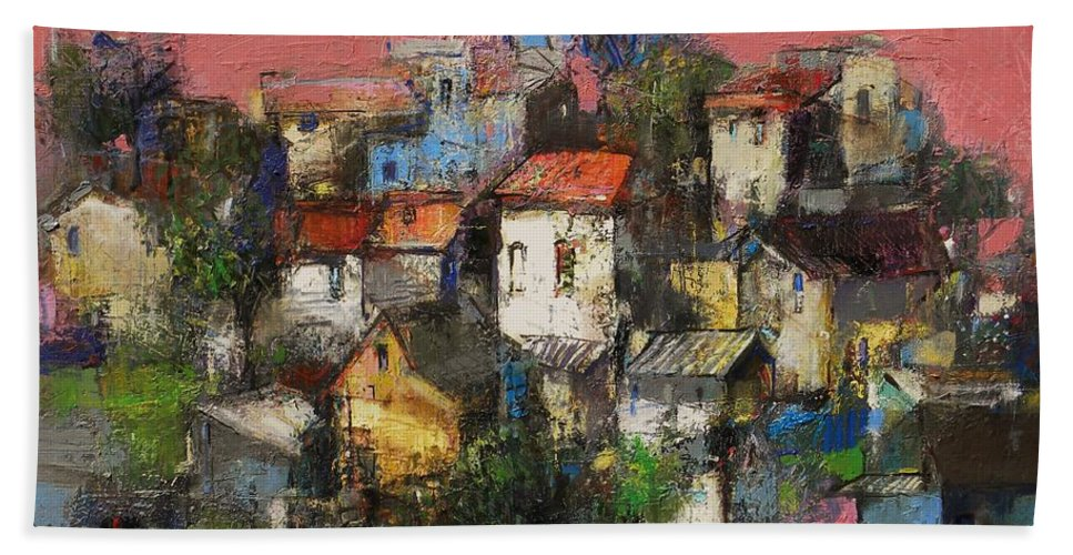 Landscape Hand Towel featuring the painting Sundown Touches The Neighborhood by Grigor Malinov