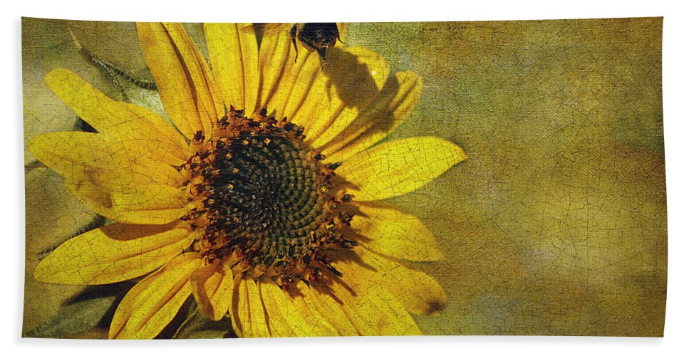 Cindi Ressler Bath Towel featuring the photograph Sunflower And Bumble Bee by Cindi Ressler