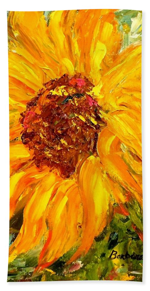 Flowers Hand Towel featuring the painting Sunflower by Barbara Pirkle