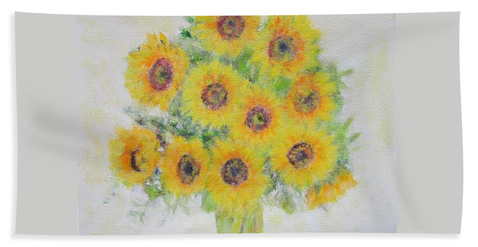 Impressionism Hand Towel featuring the painting Sunflower Bouquet by Glenda Crigger