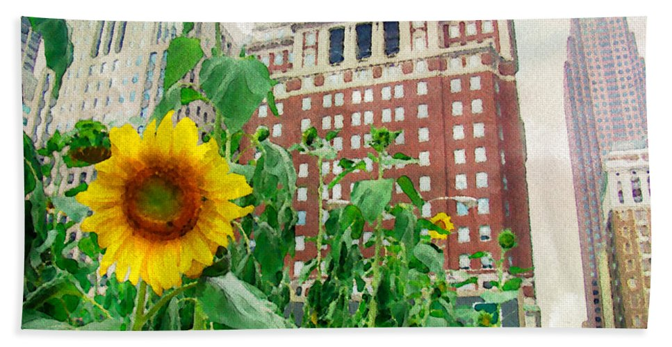Sunflower Bath Sheet featuring the photograph Sunflower City by Alice Gipson