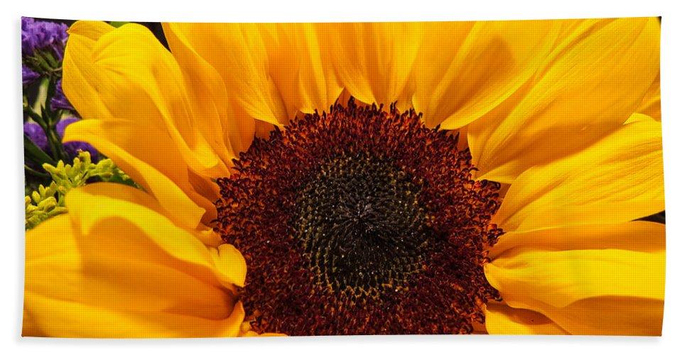 Flower Bath Sheet featuring the photograph Sunflower Closeup by JG Thompson