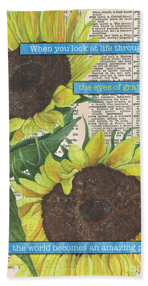 Floral Bath Towel featuring the painting Sunflower Dictionary 2 by Debbie DeWitt