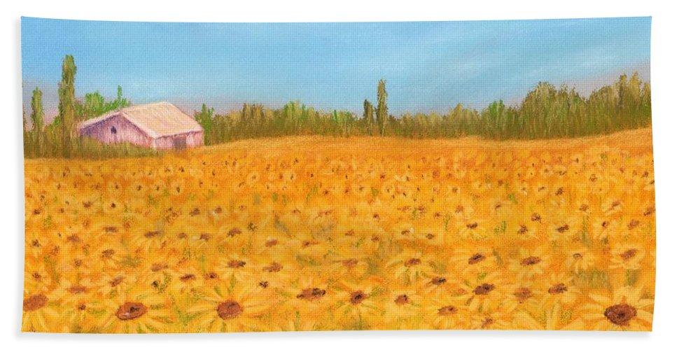 Sunflower Hand Towel featuring the painting Sunflower Field by Anastasiya Malakhova