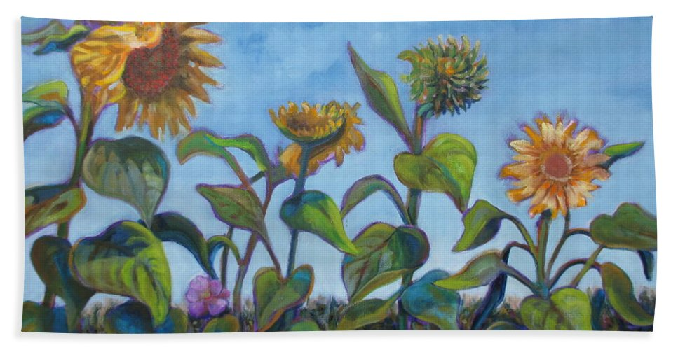 Sunflowers Hand Towel featuring the painting Sunflower Field by Karen Nell McKean