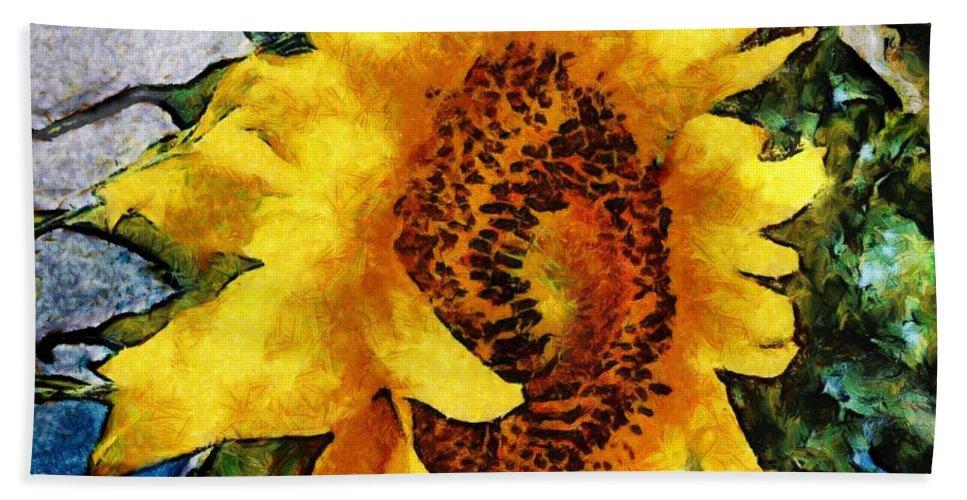 Sunflower Bath Sheet featuring the mixed media Sunflower Heart by SiriSat