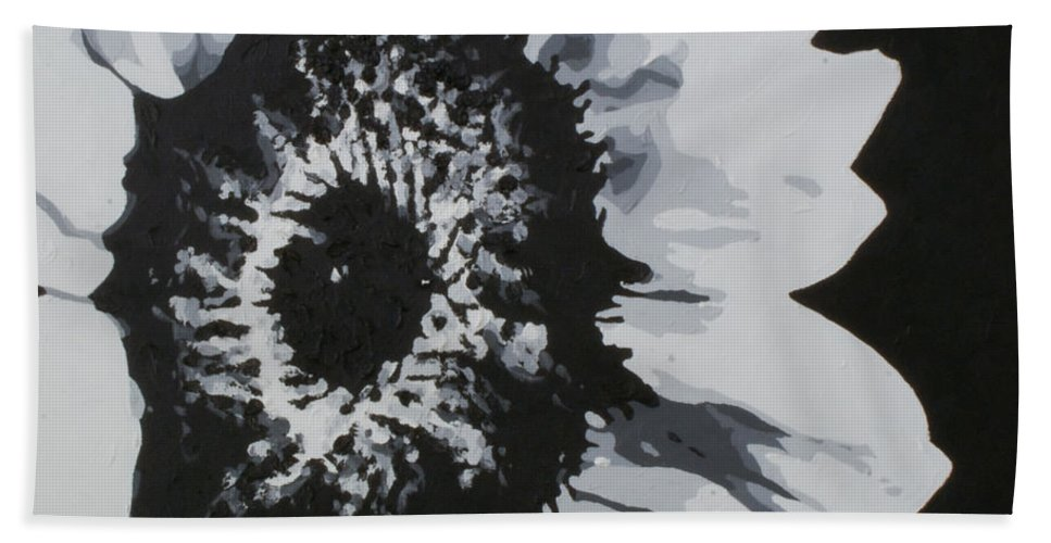 Sunflower Bath Towel featuring the painting Sunflower by Katharina Filus