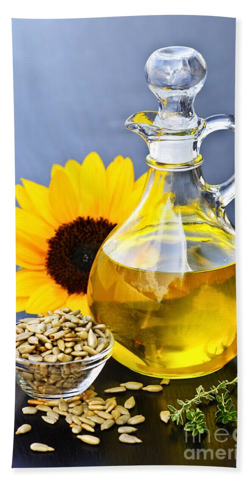 Sunflower Hand Towel featuring the photograph Sunflower Oil Bottle by Elena Elisseeva