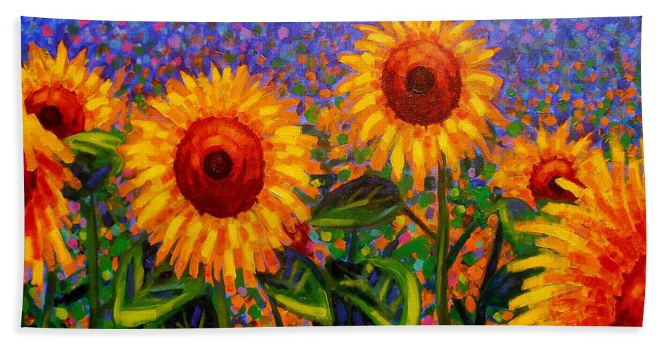 Irish Bath Sheet featuring the painting Sunflower Scape by John Nolan