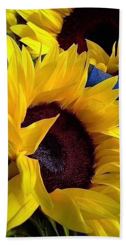 Nola Bath Sheet featuring the photograph Sunflower Sunny Yellow In New Orleans Louisiana by Michael Hoard