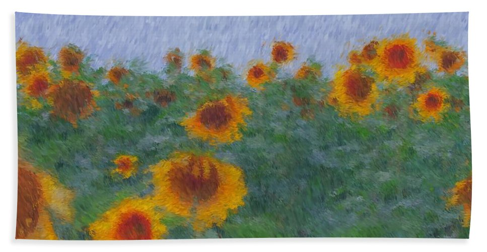 Sunflowers Bath Sheet featuring the photograph Sunflowerfield Abstract by Alice Gipson