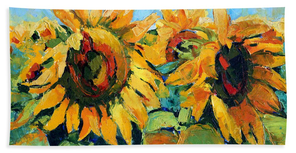 Sunflowers Bath Sheet featuring the painting Sunflowers 2 by Iliyan Bozhanov