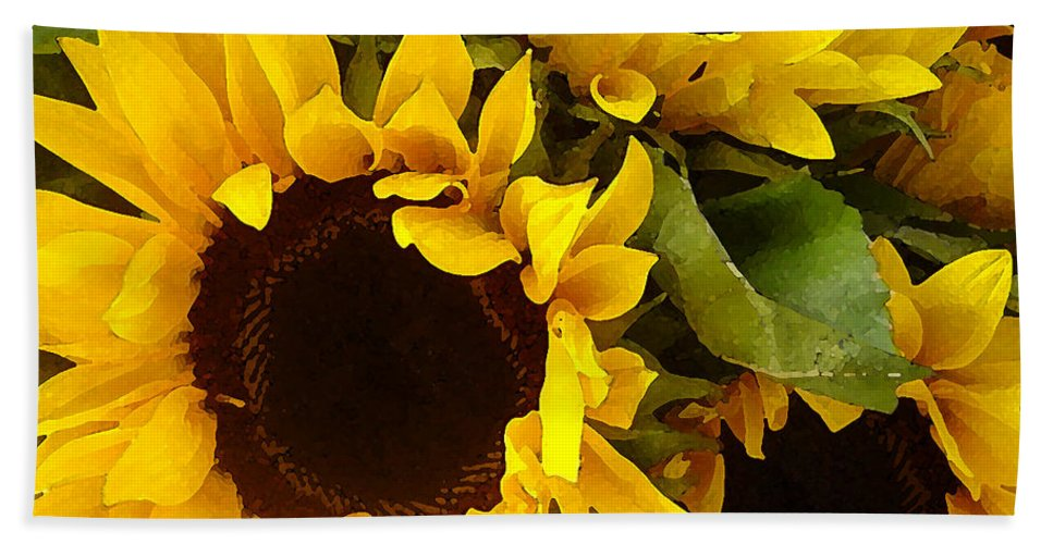 Sunflowers Bath Towel featuring the painting Sunflowers by Amy Vangsgard