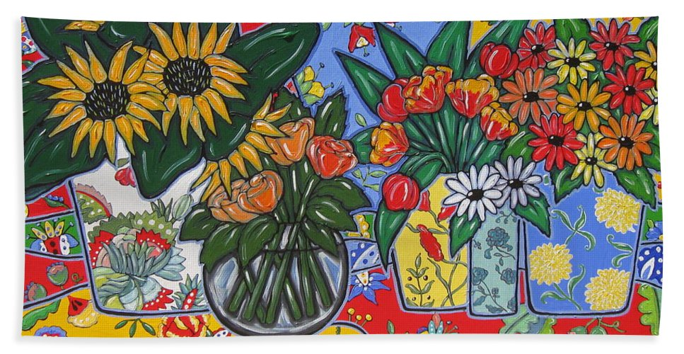 Poppies Bath Sheet featuring the painting Sunflowers And Poppies by Brooke Baxter Howie