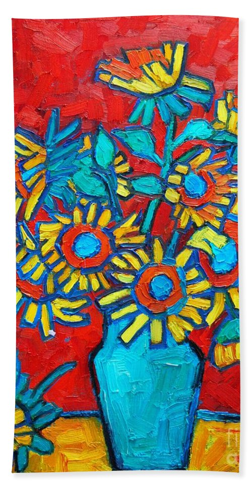 Sunflowers Bath Sheet featuring the painting Sunflowers Bouquet by Ana Maria Edulescu
