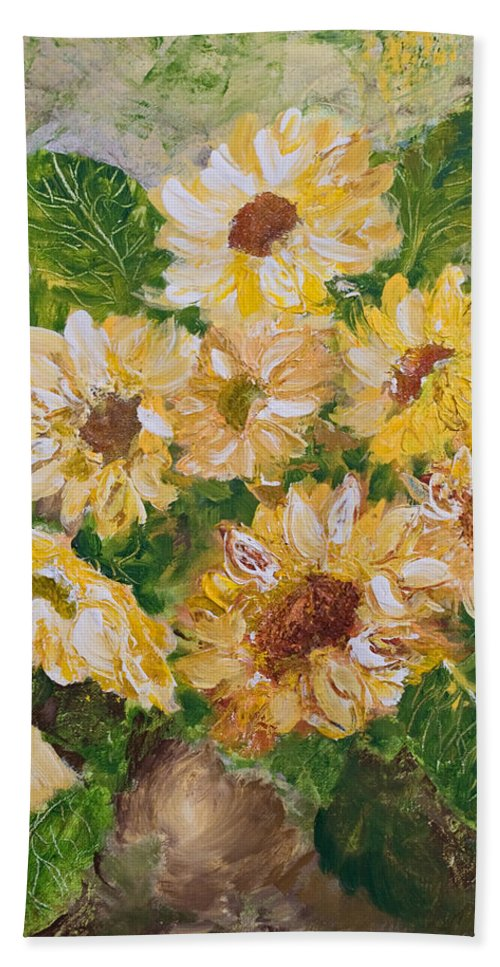 Sunflowers Bath Towel featuring the painting Sunflowers Forever by Jo Smoley