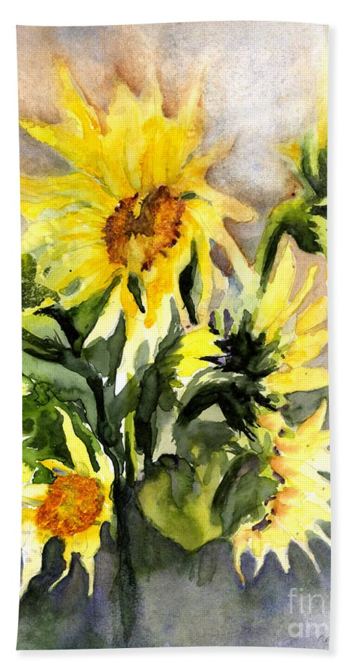 Flowers Bath Sheet featuring the painting Sunflowers In Abstract by Maria Hunt