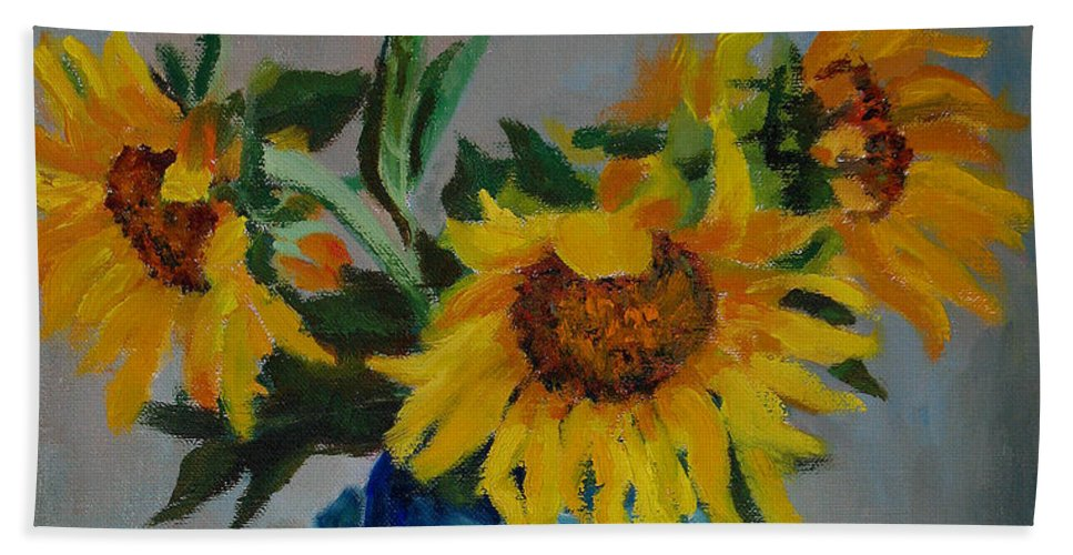 Impressionism Hand Towel featuring the painting Sunflowers In Blue Vase by Keith Burgess