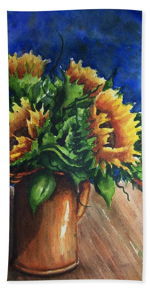 Sunflowers Hand Towel featuring the painting Sunflowers In Copper by Conni Reinecke