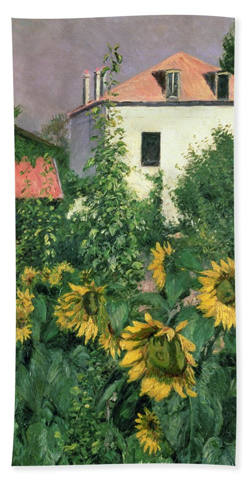 House; Sunflower; Sunlight; Rooftop; Window; Foliage; Flowers; Outskirts Of Paris; Tournesol; Tournesols Bath Towel featuring the painting Sunflowers In The Garden At Petit Gennevilliers by Gustave Caillebotte