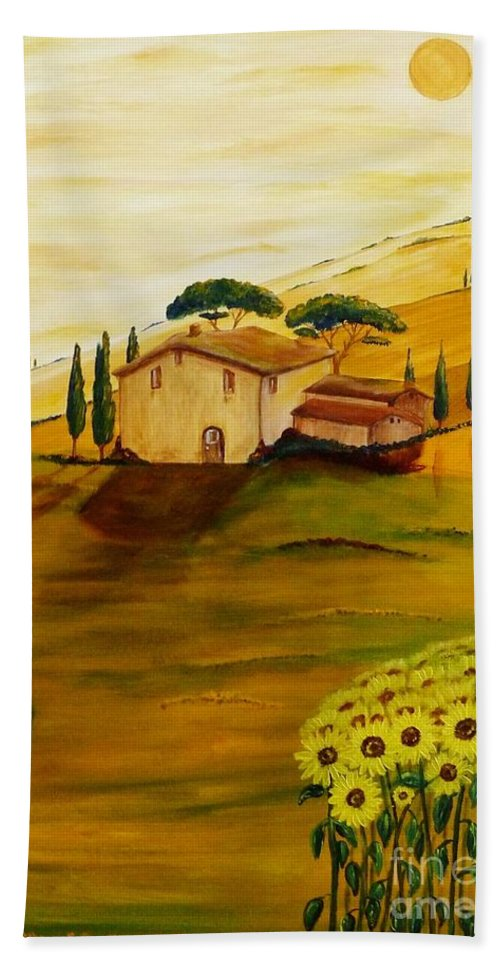 Tuscany Hand Towel featuring the painting Sunflowers In Tuscany by Christine Huwer