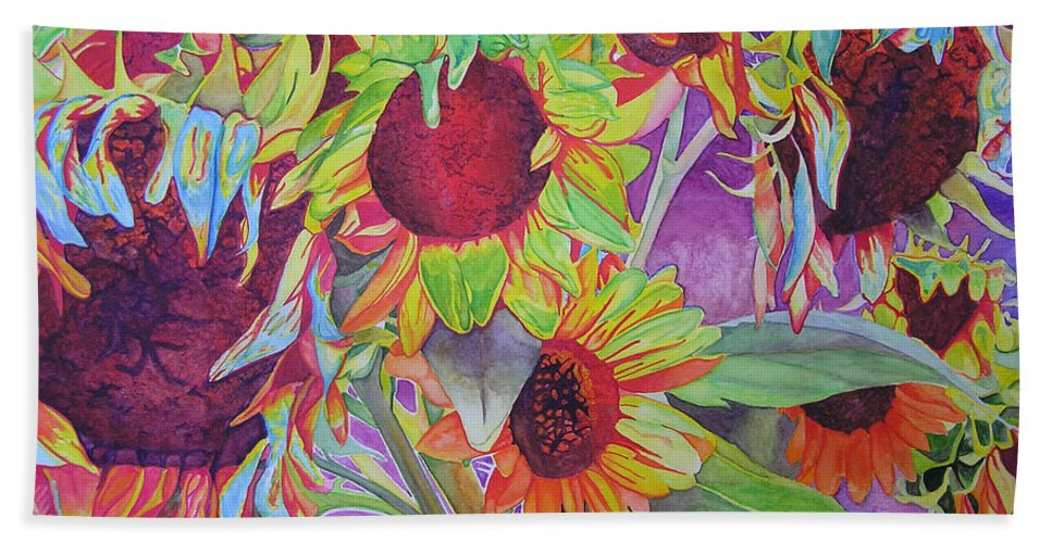 Flowers Hand Towel featuring the painting Sunflowers by Joshua Morton