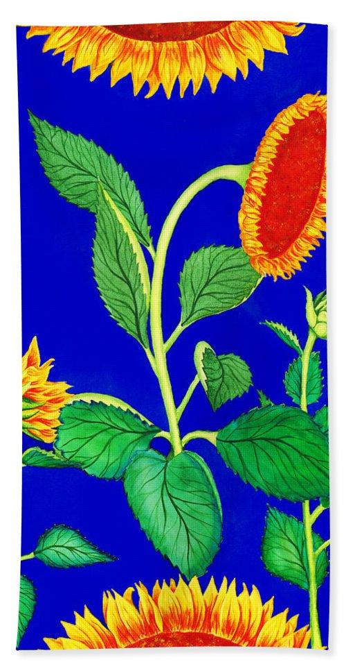 Sunflowers Hand Towel featuring the painting Sunflowers by Irina Sztukowski