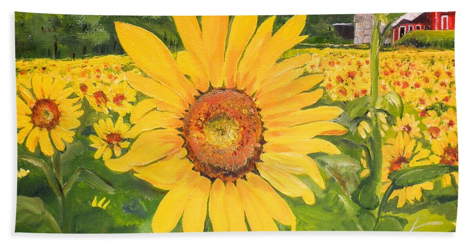 Sunflower Bath Sheet featuring the painting Sunflowers - Red Barn - Pennsylvania by Jan Dappen