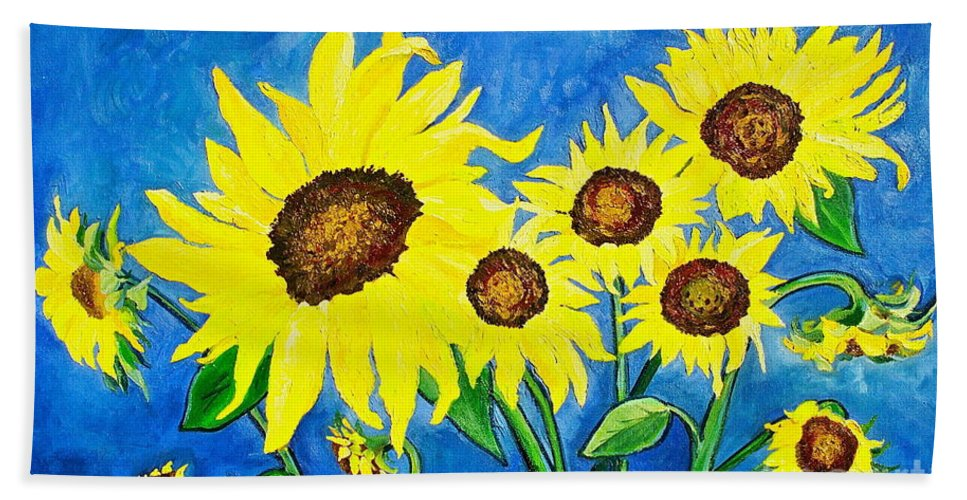 Sunflower Hand Towel featuring the painting Sunflowers by Virginia Ann Hemingson