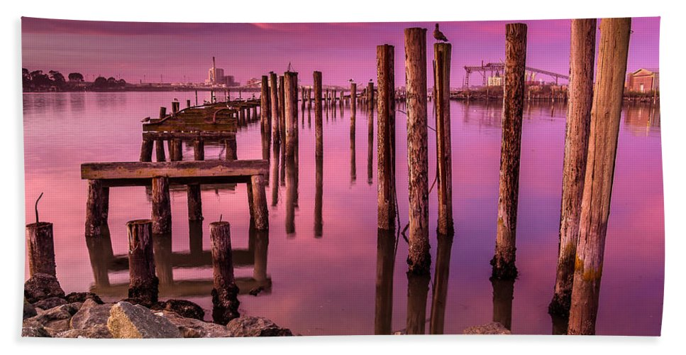 Humboldt Bay Hand Towel featuring the photograph Sunk In Twilight by Greg Nyquist