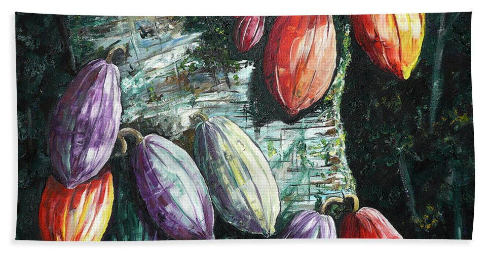 Caribbean Paintings Cocoa Fruit Paintings Tree Paintings Cocoa Paintings Chocolate Tree Paintings  Fruit Pods Paintings  Tropical Paintings Greeting Card Paintings Canvas Prints Paintings Poster Print Paintings  Hand Towel featuring the painting Sunlight And Chocolate by Karin Dawn Kelshall- Best