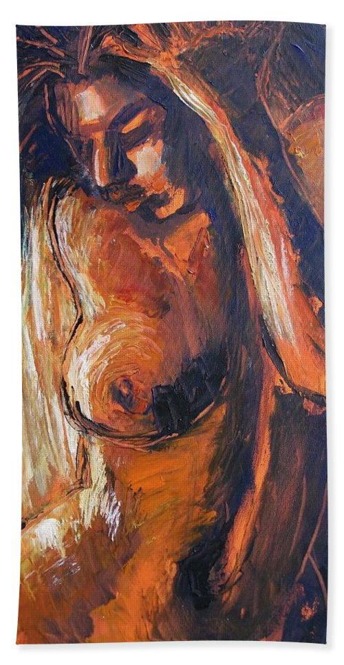 Sunlight Hand Towel featuring the painting Sunlight - Nudes Gallery by Carmen Tyrrell