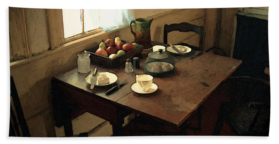 Still Life Bath Towel featuring the painting Sunlight On Dining Table by RC deWinter