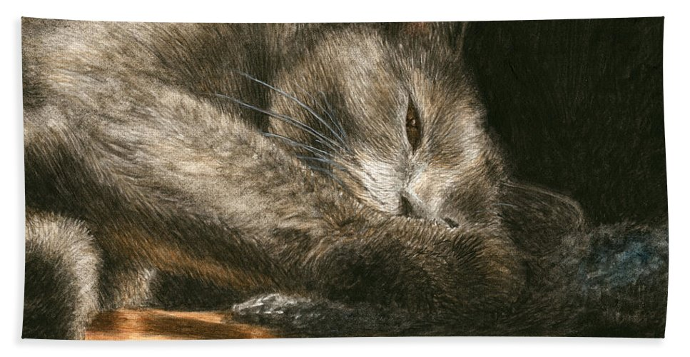 Cat Hand Towel featuring the painting Sunlight by Pat Erickson