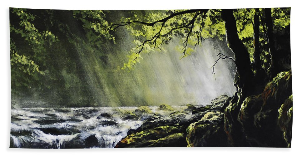 Waterfall Bath Sheet featuring the painting Sunlit Dream by Marco Antonio Aguilar