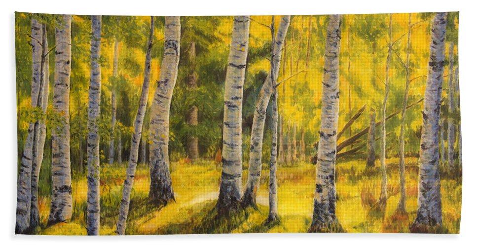 Art Bath Sheet featuring the painting Sunny Birch by Veikko Suikkanen