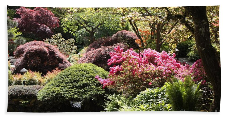 Japanese Garden Hand Towel featuring the photograph Sunny Japanese Garden by Carol Groenen