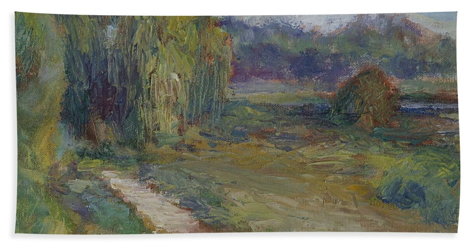 Sky Hand Towel featuring the painting Sunny Morning In The Park -wetlands - Original - Textural Palette Knife Painting by Quin Sweetman