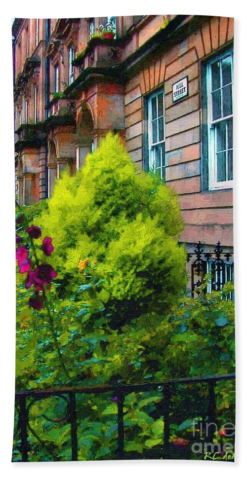 Houses Bath Sheet featuring the painting Sunny Morning Mayfair by RC DeWinter