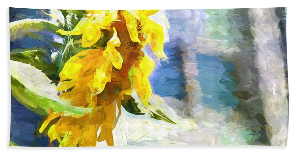 Sunflower Bath Sheet featuring the photograph Sunnyabstracted by Alice Gipson