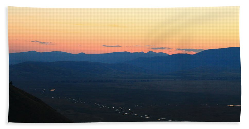 Jackson Hole Hand Towel featuring the photograph Sunrise And River by Catie Canetti