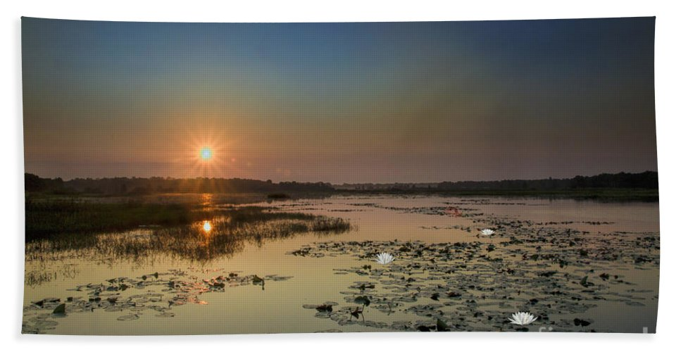 Sunrise Hand Towel featuring the digital art Sunrise And Water Lilies by Barbara Bowen