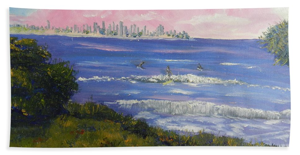 Impressionism Bath Sheet featuring the painting Sunrise At Burliegh Heads by Pamela Meredith