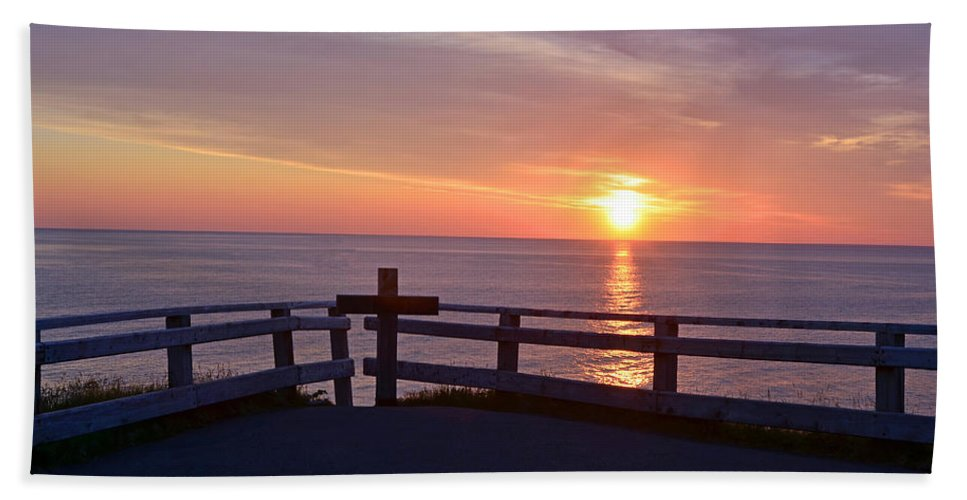 Sunrise At Cape Spear St Johns Newfoundland Hand Towel featuring the photograph Sunrise At Cape Spear St Johns Newfoundland by Lisa Phillips