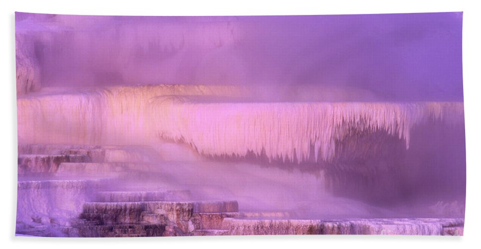 North America Bath Towel featuring the photograph Sunrise At Minerva Springs Yellowstone National Park by Dave Welling