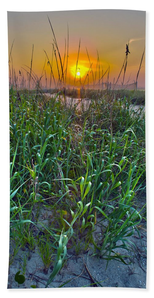 North Bath Sheet featuring the photograph Sunrise At Myrtle Beach by Alex Grichenko