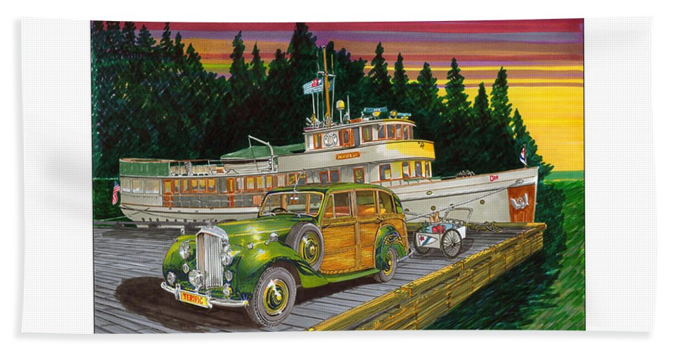 Image Of 1934 Bentley Shooting Brake On The Dock At The Seattle Yacht Club Port Madison Out Station Bath Sheet featuring the painting Port Madison Sunrise by Jack Pumphrey