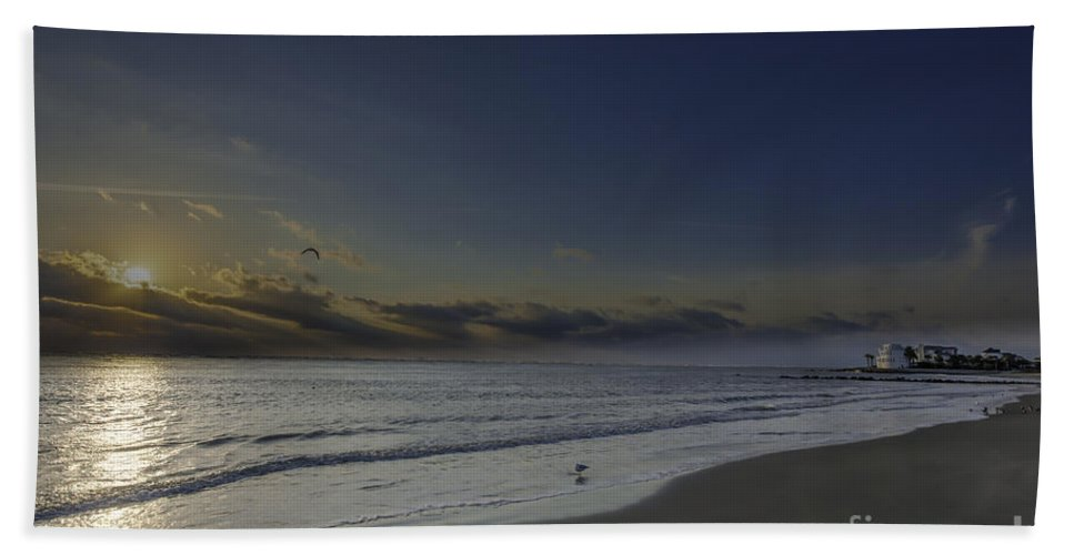 Sunrise Hand Towel featuring the photograph Sunrise At The Beach by Dale Powell