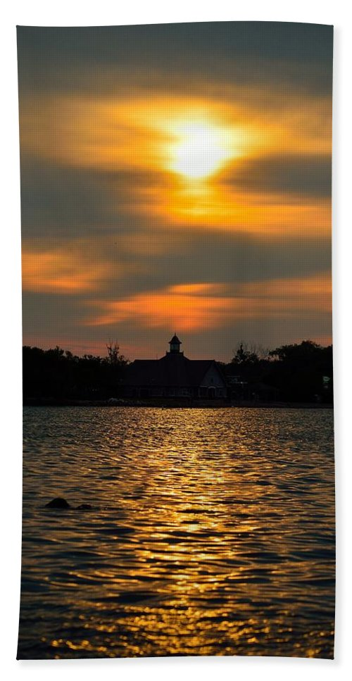 Sunrise Hand Towel featuring the photograph Sunrise At The Lake by Ray Sheley