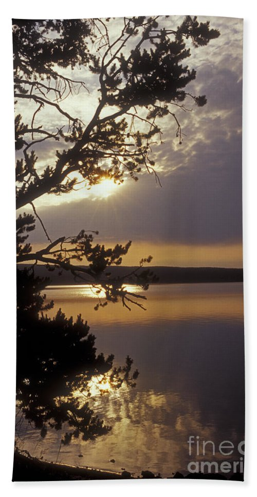 Yellowstone Hand Towel featuring the photograph Sunrise At Yellowstone Lake by Sandra Bronstein